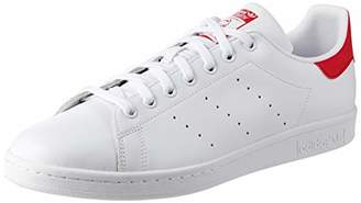 adidas Men's Stan Smith Low-Top Sneakers, Unisex - Adult, White(White (Footwear White/Collegiate Red)), 9.5 UK ( EU)