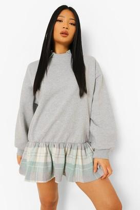 boohoo Petite 2 In 1 Check Shirt Detail Sweat Dress
