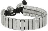Steve Madden Stainless Steel Rectangle Bar w/ Ball and Horn Leather Bracelet Bracelet