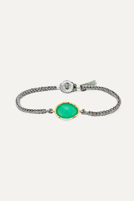 Brooke Gregson Orbit 14-karat Gold, Sterling Silver, Silk And Chrysoprase Bracelet