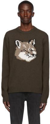 MAISON KITSUNÉ Khaki Wool Jacquard Fox Head Sweater