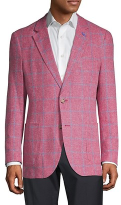 Tailorbyrd Standard-Fit Linen-Blend Windowpane Sportcoat