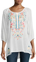 Johnny Was Linnet Embroidered 3/4-Sleeve Blouse