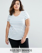 Junarose Plus Striped T-Shirt With Raw Edge
