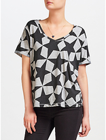 Maison Scotch Star Print T-Shirt, Grey