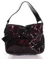 Kooba Dark Purple PVC Knot Front Shoulder Handbag