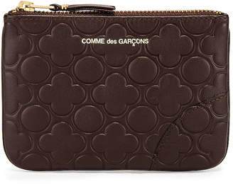 Comme des Garcons Embossed Leather Line Pattern B Wallet in Brown | FWRD