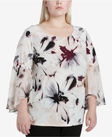 Calvin Klein Plus Size Printed Sheer-Sleeve Top