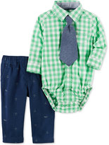 Carter's 3-Pc. Tie, Plaid Shirt Bodysuit & Schiffli Pants Set, Baby Boys (0-24 months)