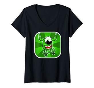 Womens Monster on Skateboard V-Neck T-Shirt