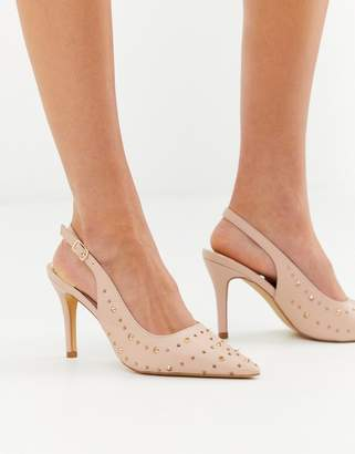 Glamorous pointed heeled court shoes with stud detail-Pink