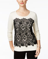 Charter Club Petite Lace-Front Sweater, Only at Macy's