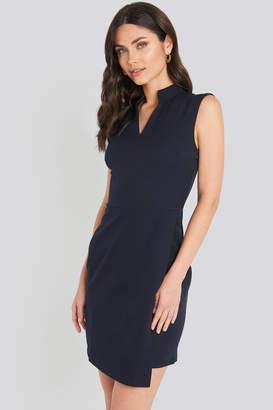 Trendyol Sheer Neck Mini Dress Blue