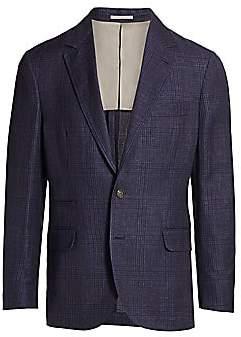 Brunello Cucinelli Men's Plaid Doubleface Linen, Wool & Silk Single-Breasted Jacket