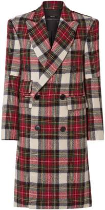 R 13 Double-breasted Checked Wool Coat
