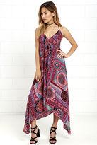 LuLu*s Sound of Silence Fuchsia Print Midi Dress