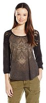 Miss Me Junior's Studded Lace 3/4 Sleeve Top
