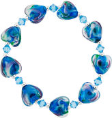 Glass Heart Bridge Jewelry Dazzling Designs Silver-Plated Teal Stretch Bracelet