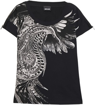 Just Cavalli Zip-detailed Crystal-embellished Melange Printed Cotton-jersey T-shirt