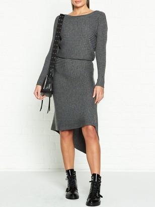 AllSaints Eva Metallic Rib Knit Dress - Grey
