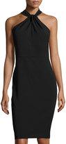 Taylor Twist-Neck Crepe Halter Dress, Black