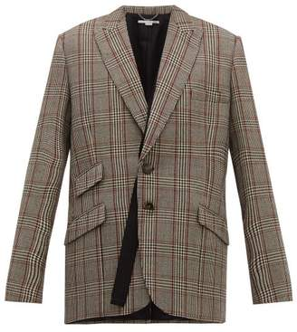 Stella McCartney Double Breasted Prince Of Wales Check Wool Blazer - Womens - Grey Multi