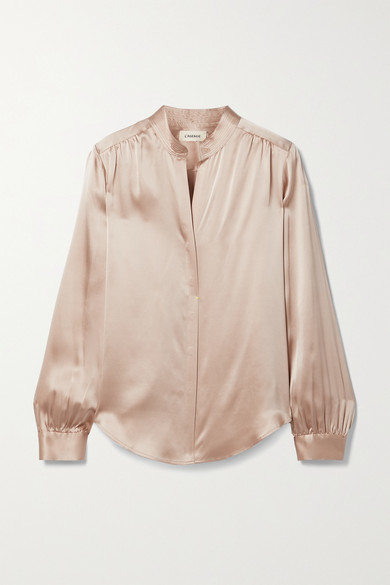 Thumbnail for your product : L'Agence Bianca Silk-satin Blouse - Sand