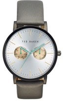 Ted Baker Men's Multifunction Leather Strap Watch, 40Mm