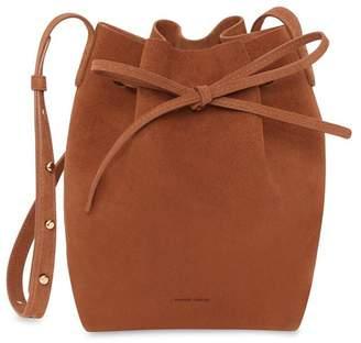 Mansur Gavriel Suede Mini Bucket Bag in Rust