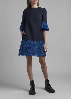 Valentino Flared 1/2-Sleeve Wool-Silk Dress