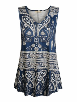 Cyanstyle Tunics for Women Ladies Patterned Tops V Neck Tanks Sleeveless Loose Blouse Geometrics Elegant Cozy Vacation Printed Cozy Tunics for Office Navy Blue L