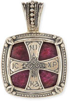 Konstantino Henos Men's Sterling Silver Cross Pendant with Ruby Root