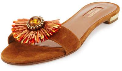 Aquazzura Samba Embellished One-Band Slide Sandal, Luggage