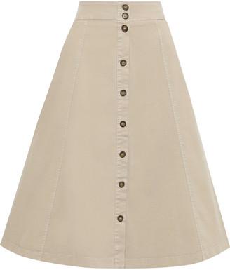 Iris & Ink Liia Flared Cotton-blend Twill Midi Skirt