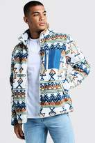 BoohoomanBoohooMAN Mens Cream Borg Jacket In Aztec Pattern With Contrast Pocket, Cream