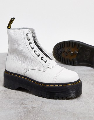 Dr. Martens Sinclair flatform zip leather boots in white