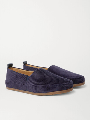 Mulo - Shearling-Lined Corduroy Slippers - Men - Blue