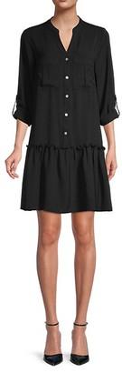 Emma & Michele Drop-Waist Button-Front Dress