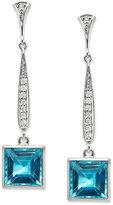 Sterling Silver Earrings, Blue Topaz (9 ct. t.w.) and Diamond (1/6 ct. t.w.) Square Drop Earrings