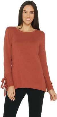 Belle by Kim Gravel Chunky Sweater with Sleeve Tie