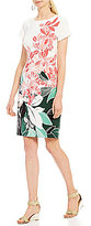Adrianna Papell Floral Printed Crepe Sheath Dress