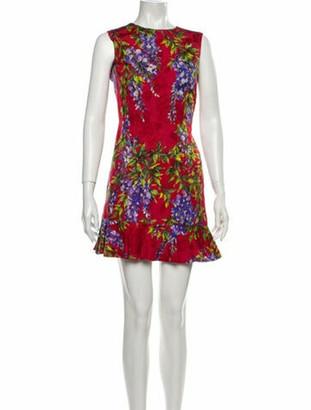 Dolce & Gabbana Floral Print Mini Dress Red