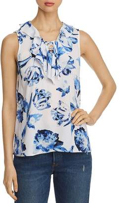 Karl Lagerfeld Paris Floral-Print Lace-Up Tank