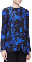 Proenza Schouler Long-Sleeve Scribble-Print Blouse, Indigo Graffiti