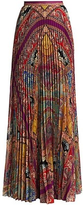 Etro Devon Stained Glass Pleated Maxi Skirt
