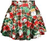 WINSON Festivity Green New 2015 Xmas Carnival Hot Mini Snowman Print Sweater Skirt Set