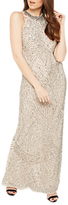 Miss Selfridge Linear Bead Maxi Dress, Nude