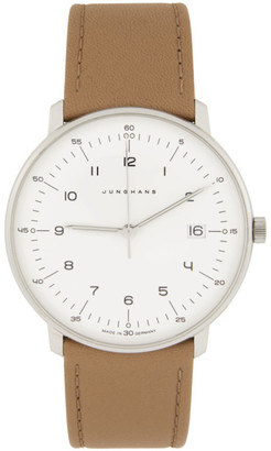 Junghans White and Tan Max Bill Quarz Watch
