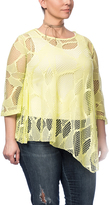 Yellow Sheer Lace Asymmetrical Top - Plus