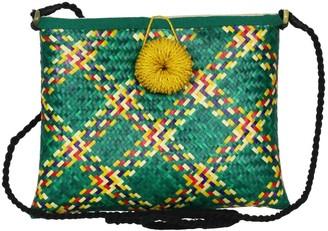 Maraina London Solene Woven Straw Cross-Body Clutch Bag In Green
